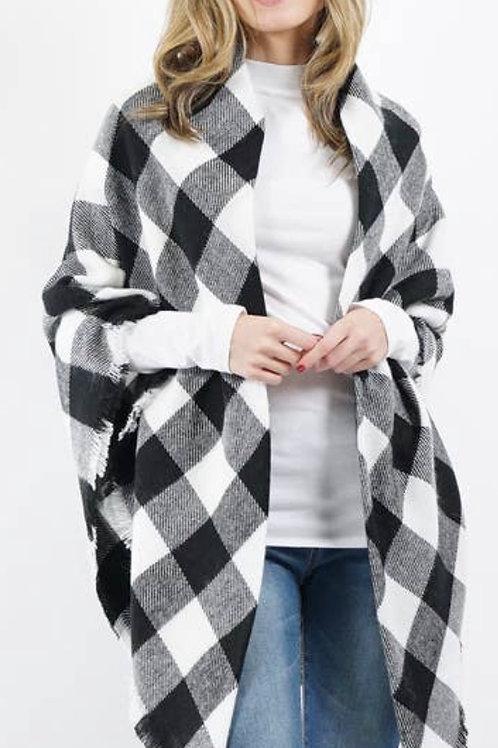 Blk/Wht Plaid Blanket Scarf