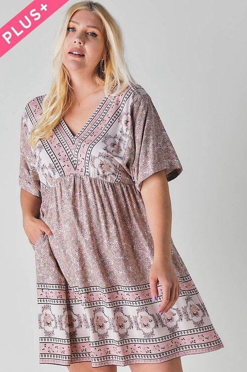 V-neck Boho print Plus dress