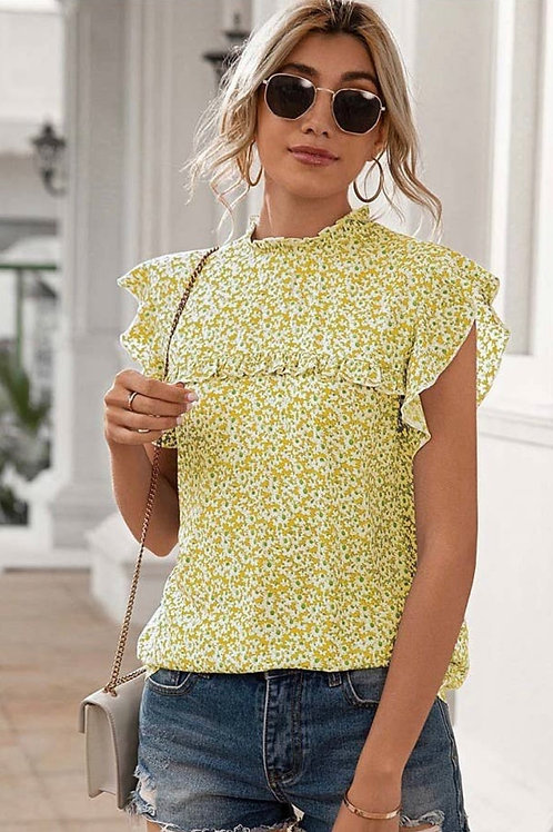 Floral pleated mock neck blouse
