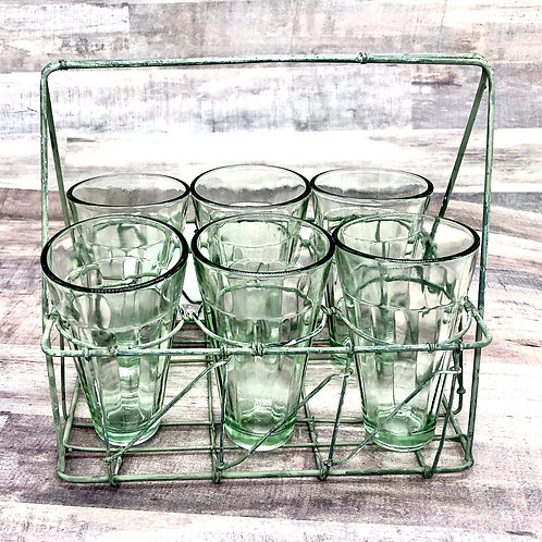 Wire glass caddy picnic set