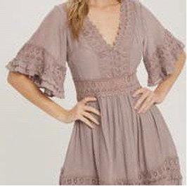 V-neck Lace trim dress