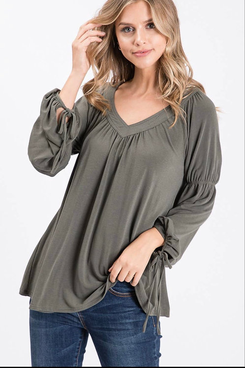 Olive V-neck long sleeve