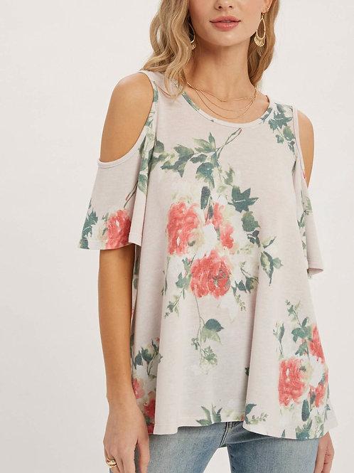 Floral print open shoulder top