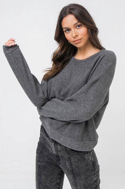 Grey knit long sleeve top
