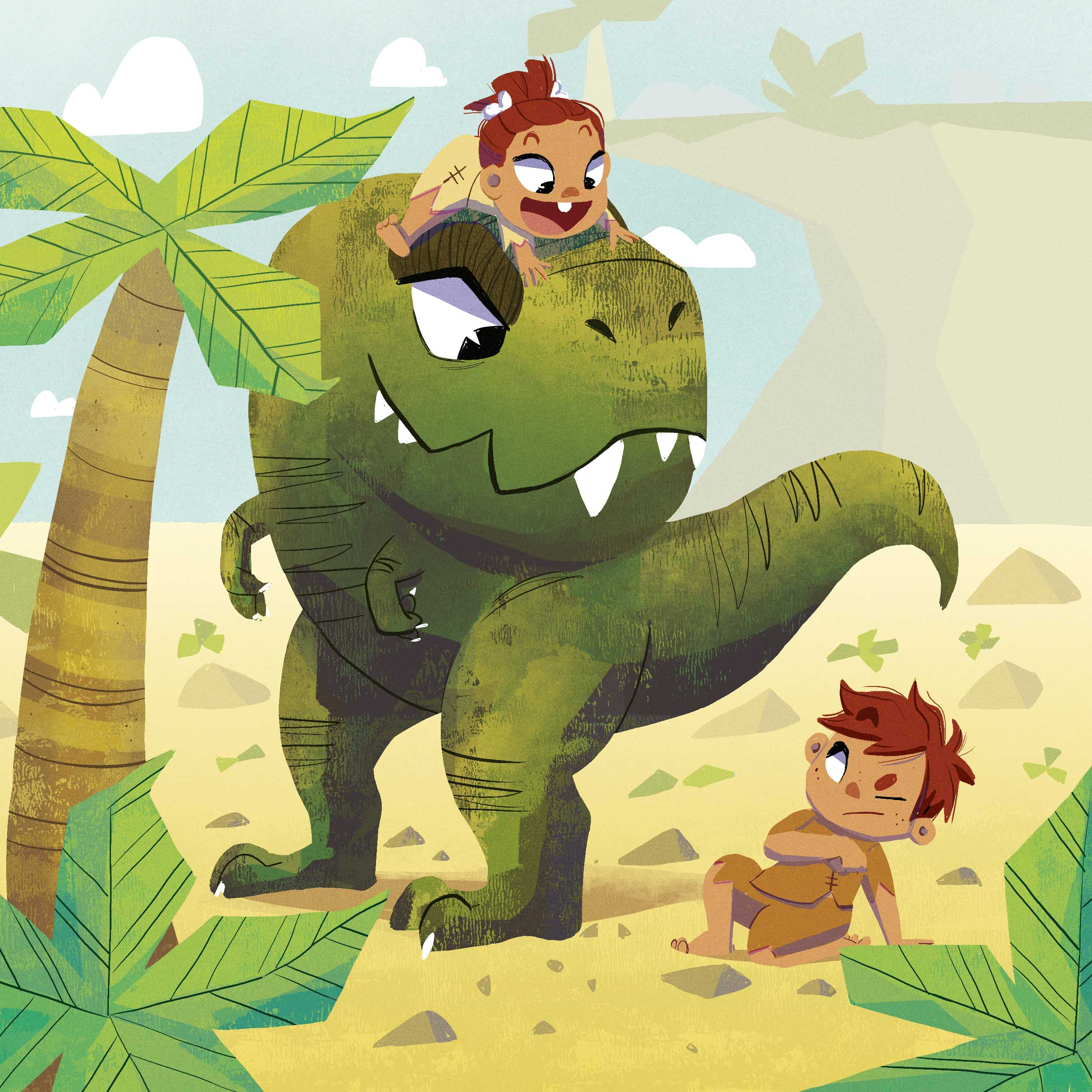 dinosaur and kids