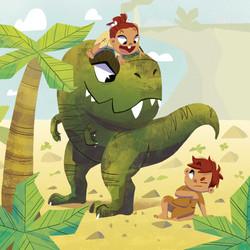 dinosaur and kids
