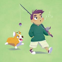 boy fishing and dog