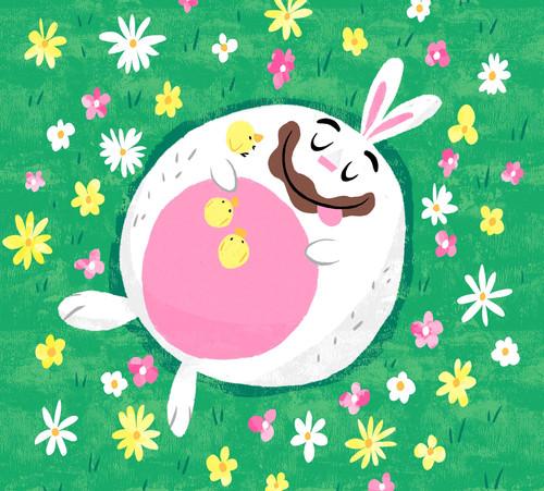 bunny sleeping chocolate