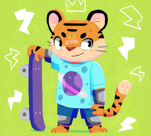 skater tiger character
