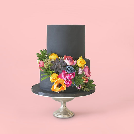 Minimal Black Two-Tier Cake with Summer Flowers