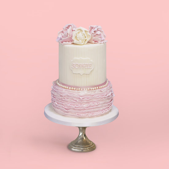Two-Tier Cake with Pink Ruffles