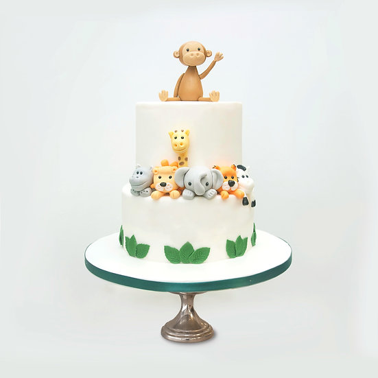 Jungle Themed Cake with Animal Toppers
