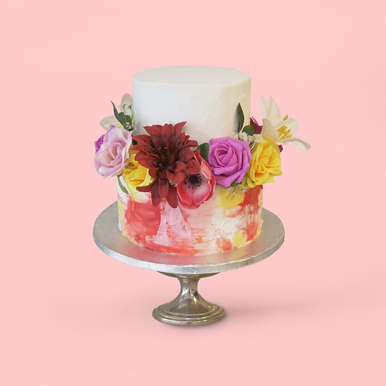 Two-Tier Watercolour cake with Flowers