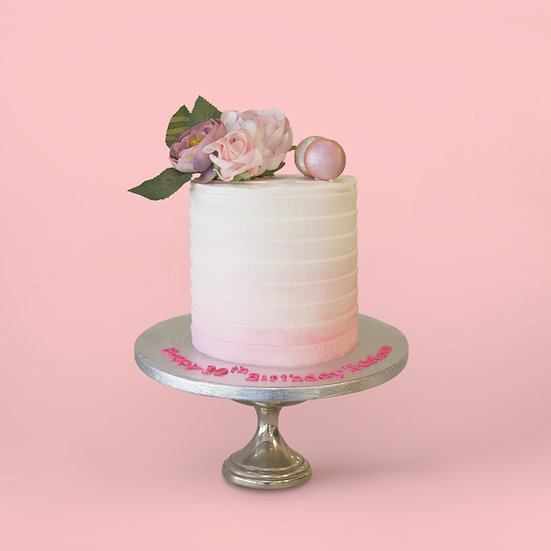Pink Ombre Floral Cake with Macaroons