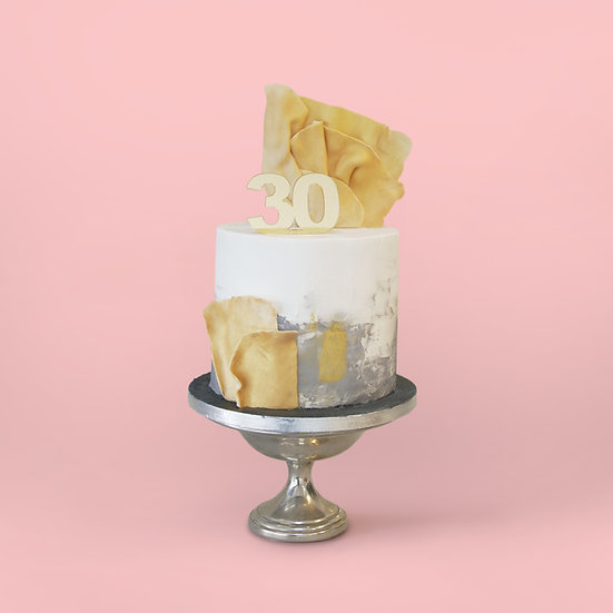 White and Grey Textured Cake with Gold Sails