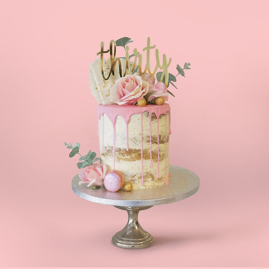 Naked Drip Cake with Macaroons