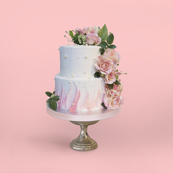 Two-Tier Ombre Floral Cake with Edible Pearls
