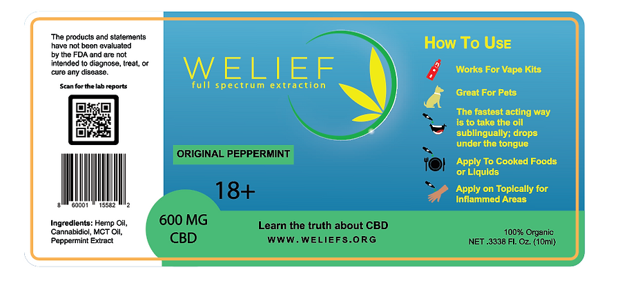 600mg  Peppermint Hemp CBD Full Spectrum Oil Tincture