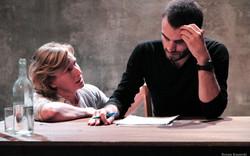 """Christine Brücher (Paulina) et Stan (Treplev) dans """"La mouette"""" d'Anton Tchekhov mise en scène par C"""