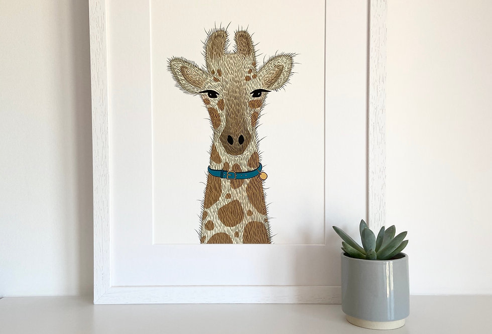 Personalised 'The Giraffe' Fine Art Giclee Print