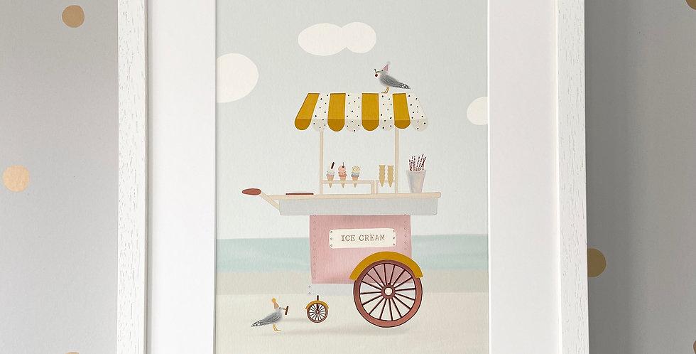 Personalised 'Ice Cream Cart' Fine Art Giclee Print