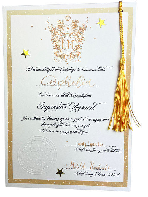 Superstar Award Certificate - Hand scribed