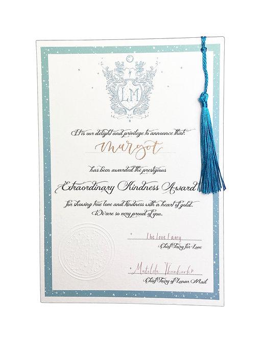 Extraordinary Kindness Certificate - Hand scribed