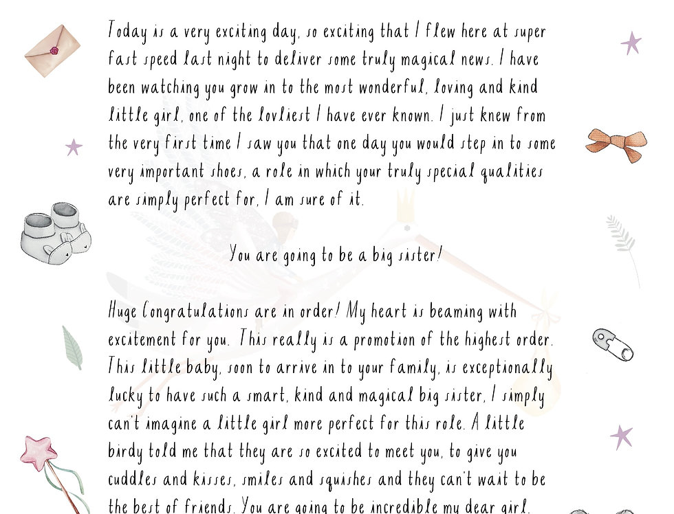 A Letter from the Baby Fairy - Big Sister/Brother to be