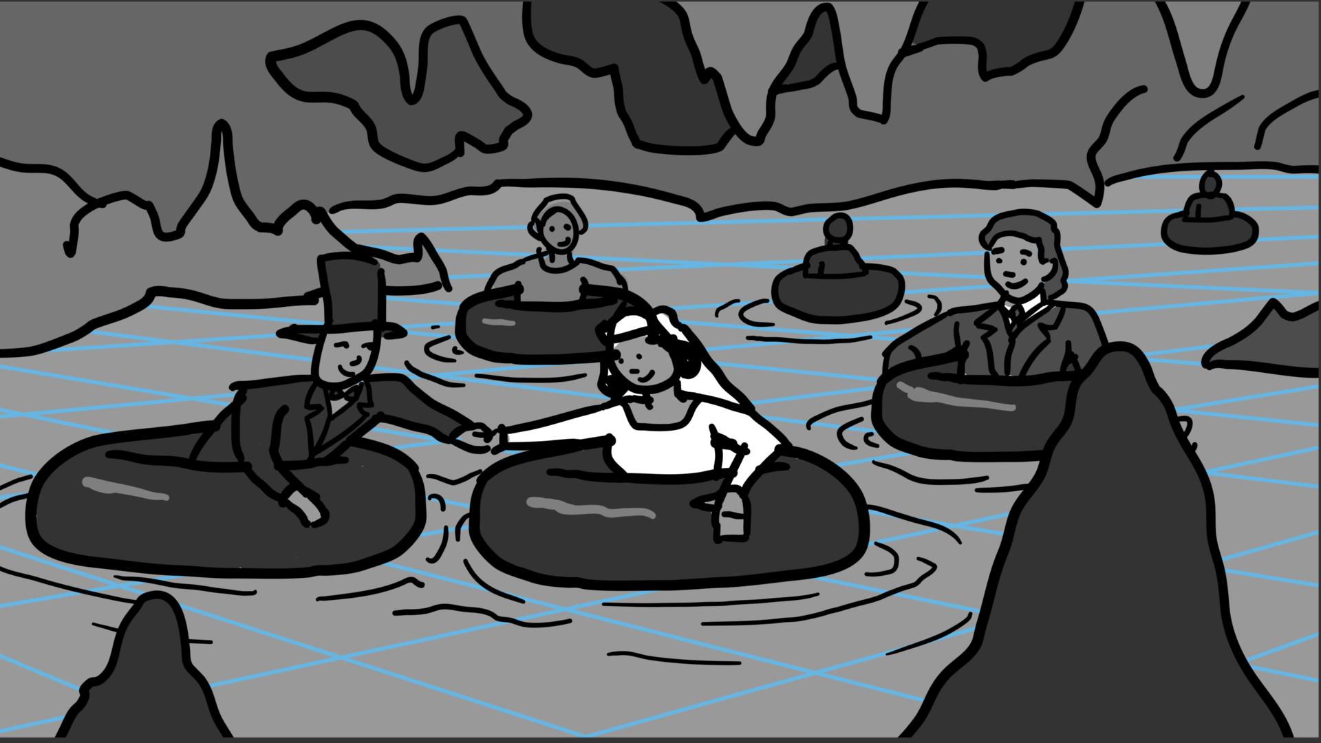Wedding Floating Down an Underground River
