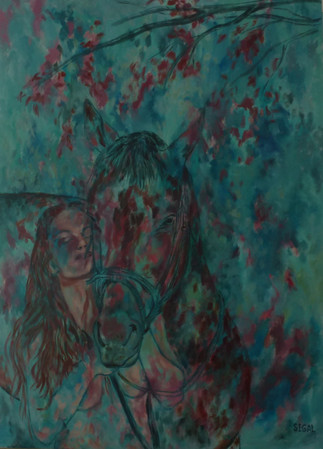 אישה וסוס בטורקיז - נמכר!