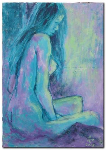 עירום אישה בטורקיז - סגול