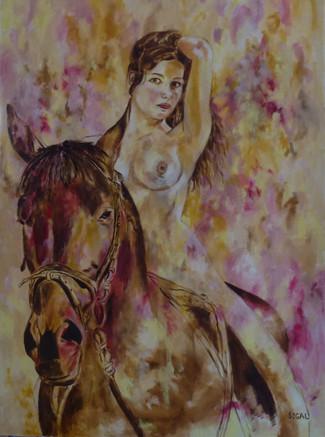 אישה וסוס בצהוב