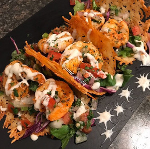 Shrimp Tacos on Parmesan Shells
