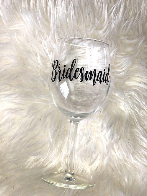 BRIDESMAID BLACK WINE GLASS