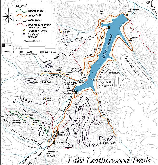 Trail map Lake Leathrwood