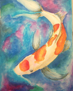 """""""Koi"""" Watercolor, 2016"""