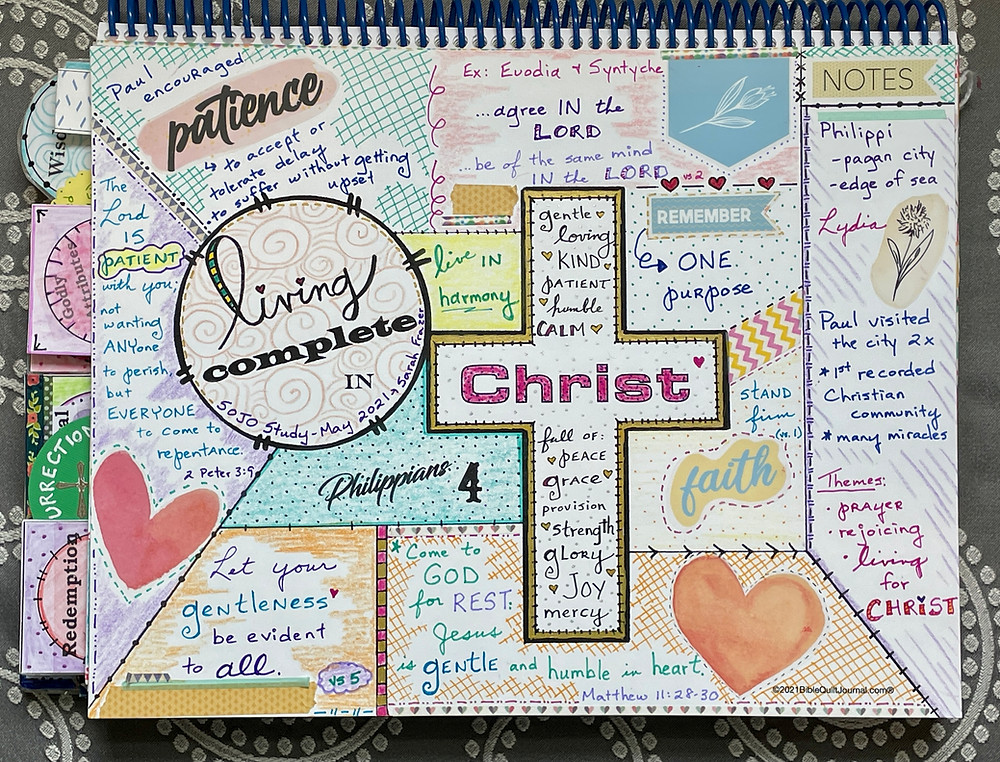 Philippians chapter 4 in Monthly Bible Quilt Journal