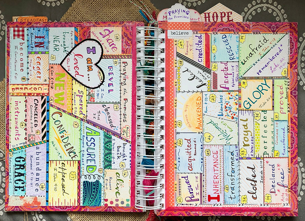 """""""Praying the Promises"""" by arabahjoy.com 2-page spread in Bible Quilt Journal"""