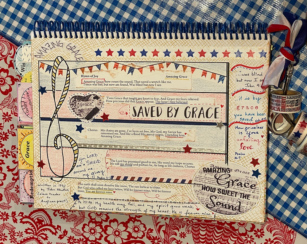 Saved by Grace page in Bible Quilt Journal