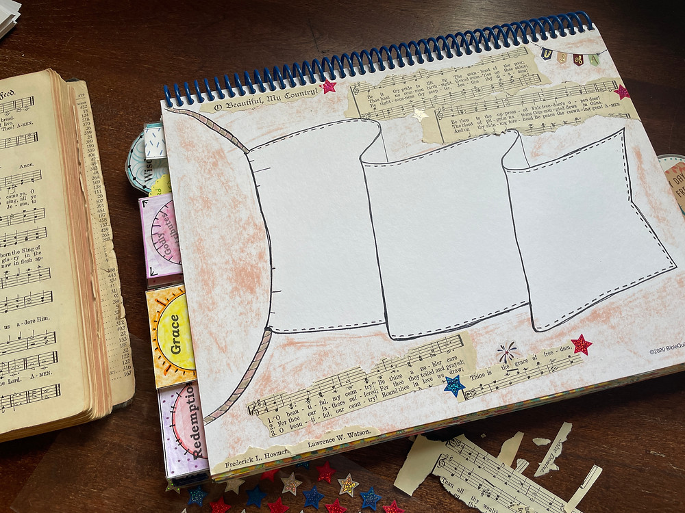 Flying Flag template for Bible Quilt Journal, adding hymns
