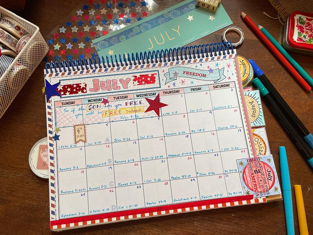 31 Days of Freedom, July 2021 calendar