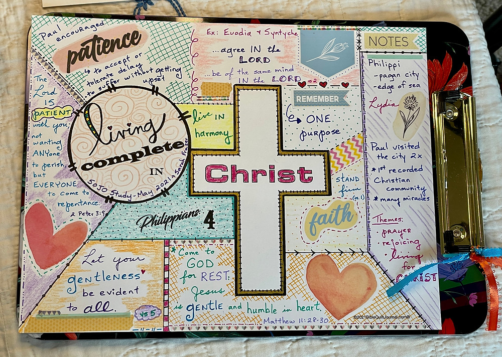 Living Complete in Christ - Bible Quilt Journal page