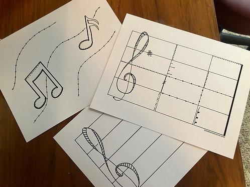 """Music Trio (8.5 x 11"""")"""