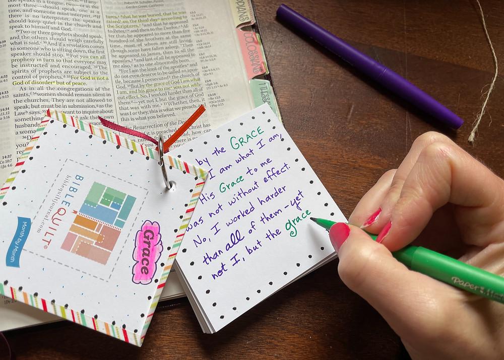 30 Days of Grace #biblequiltjournal flip cards