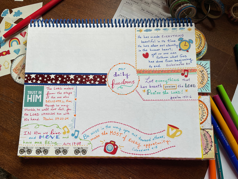 Our Daily Freedoms #biblequiltjournal page, in progress