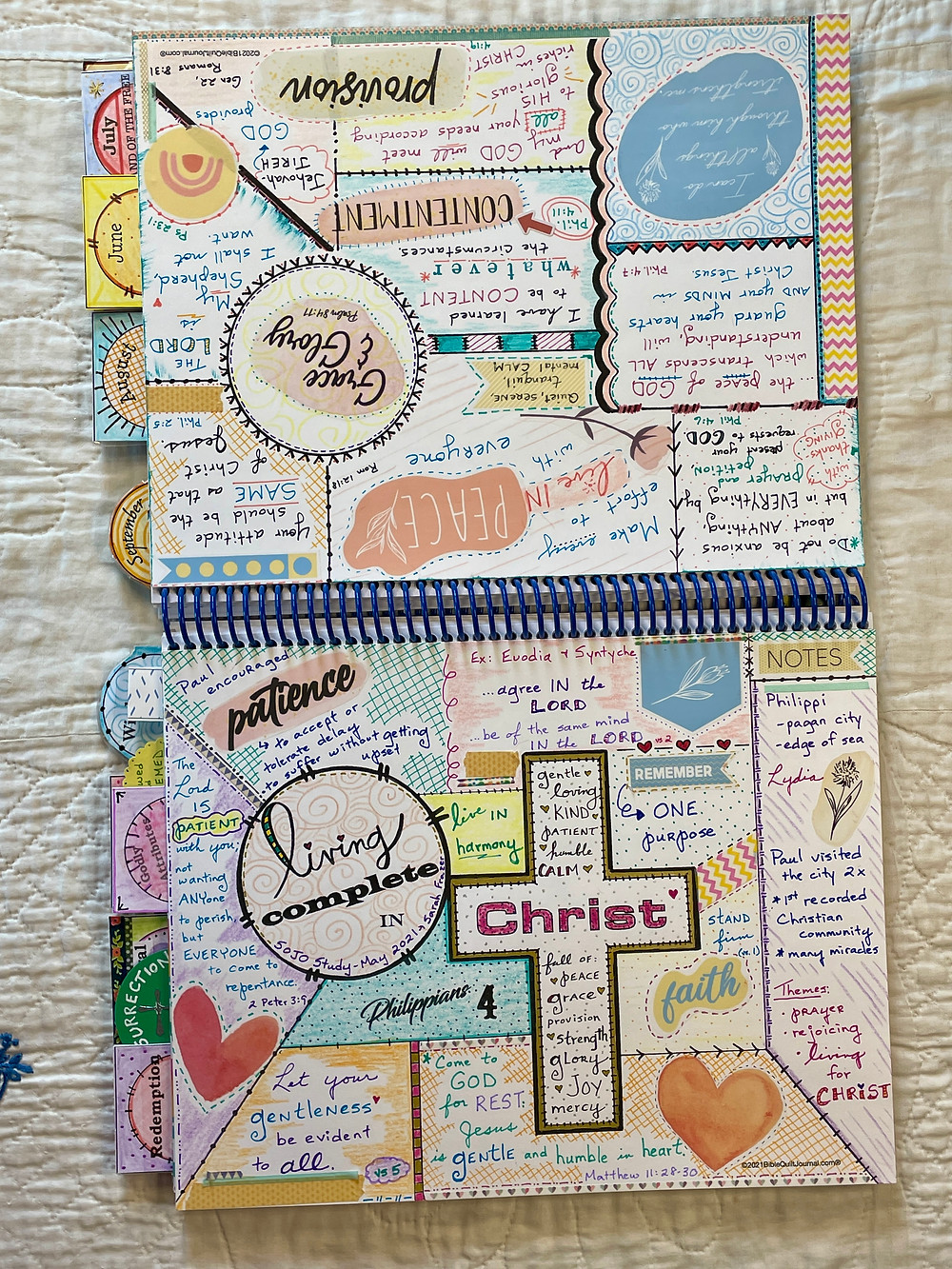 2-page spread in Monthly Bible Quilt journal
