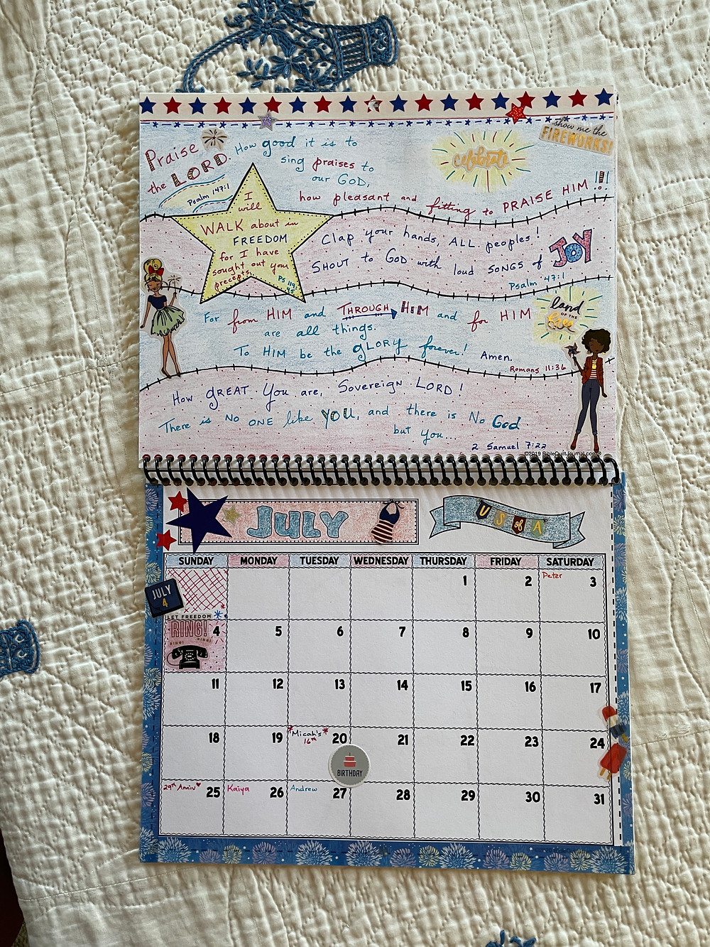 July page of Bible Quilt Journal calendar