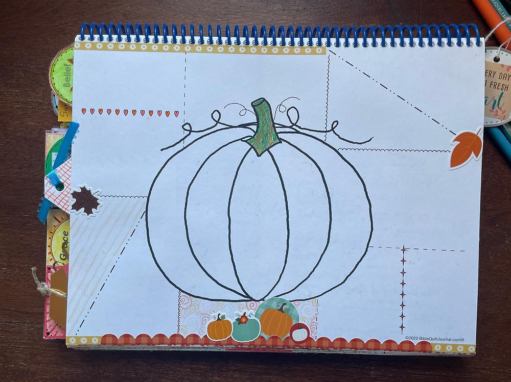 pumpkin template in Monthly Bible Quilt Journal