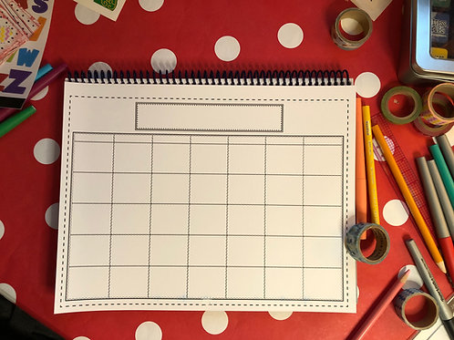 Blank Monthly calendar page for Bible Quilt