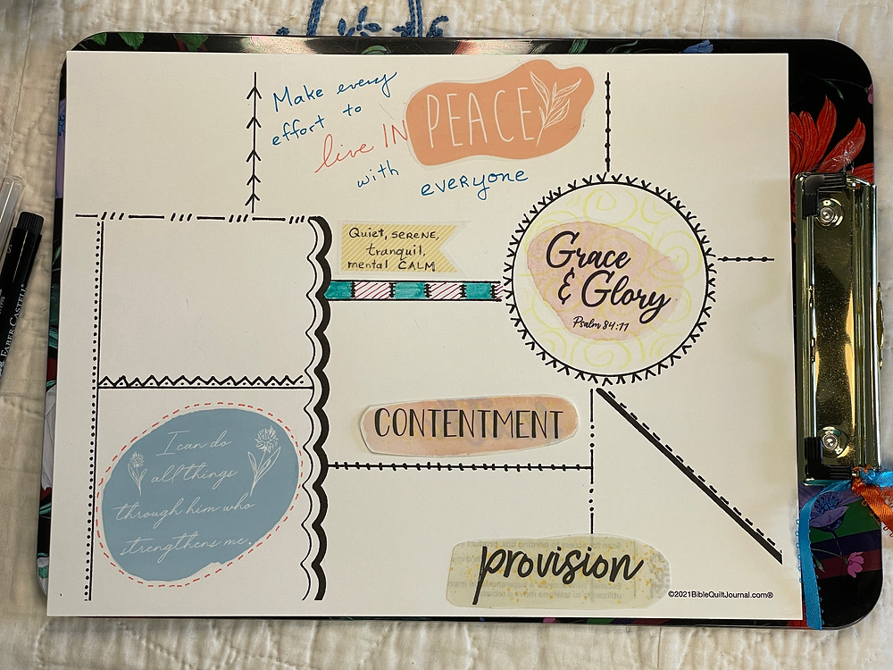 Laying out creative elements for Bible Quilting